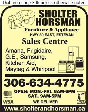 Sholter & Horsman Furniture & Appliances - Appliances Major Sales, Service & Parts Digital Ad