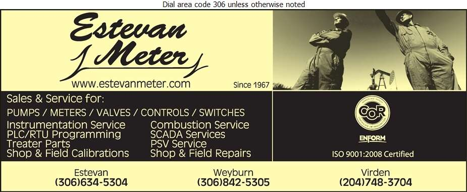 Estevan Meter Services Ltd - Oil & Gas Well Service Digital Ad