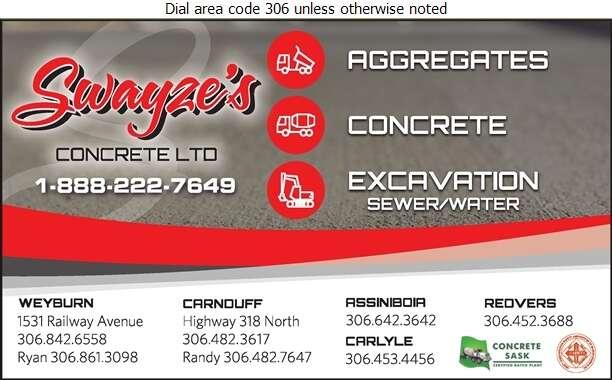 Swayze Concrete Ltd (Carnduff or Weyburn) - Concrete Ready Mixed Digital Ad