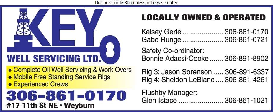 Key Well Servicing Ltd (Rig 4 Sheldon LeBlanc) - Oil & Gas Well Service Digital Ad