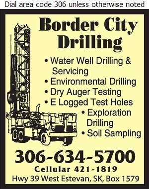 Border City Drilling Ltd - Water Well Drilling & Service Digital Ad