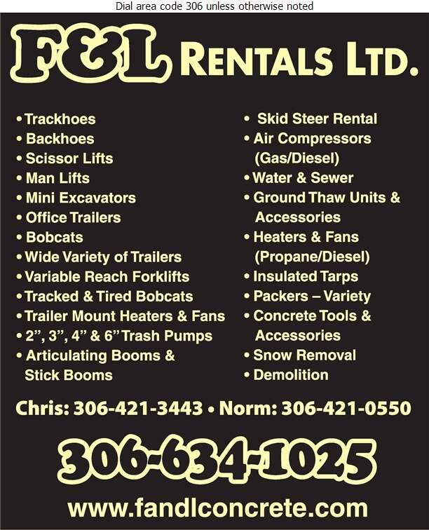 F & L Concrete Services - Rental Service General Digital Ad