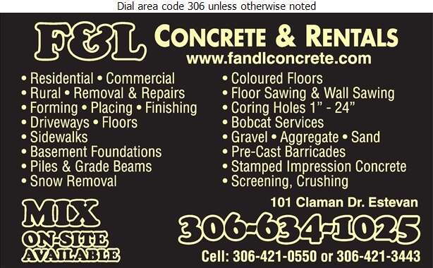 F & L Concrete Services - Concrete Contractors Digital Ad