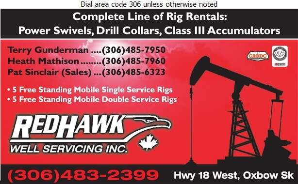 Red Hawk Well Servicing Inc (Terry Gunderman - Cell) - Oil & Gas Well Service Digital Ad