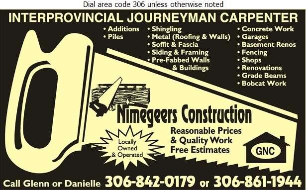 Nimegeers Construction - Contractors General Digital Ad