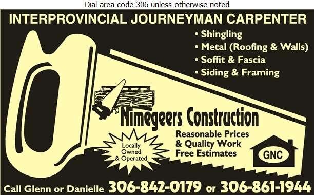 Nimegeers Construction - Roofing Contractors Digital Ad