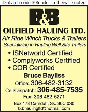 B & B Oilfield Hauling Ltd (Bruce) - Oil & Gas Well Transportation Digital Ad