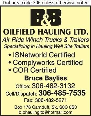 B & B Oilfield Hauling Ltd (Bruce) - Oil & Gas Well Transportation Digital Ad