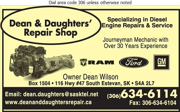 Dean & Daughters' Repair Shop - Engines Diesel Parts & Service Digital Ad