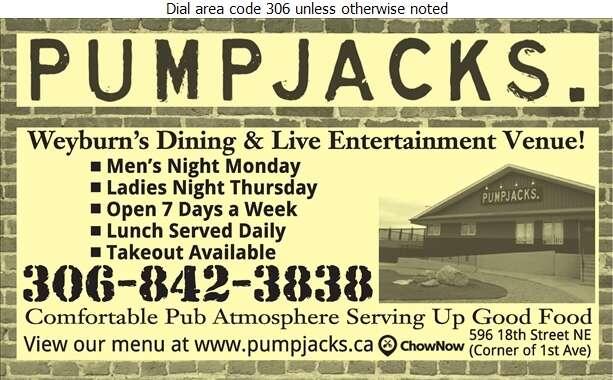 Pump Jack's Saloon And Steak House Ltd - Restaurants Digital Ad