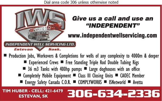 Independent Well Servicing Ltd (Tim Huber General Manager) - Oil & Gas Well Service Digital Ad