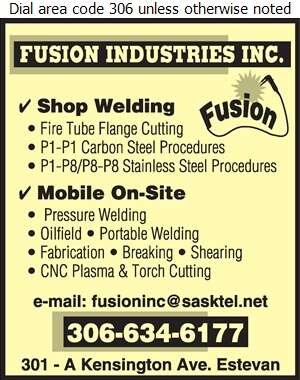 Fusion Industries Inc - Welding Digital Ad