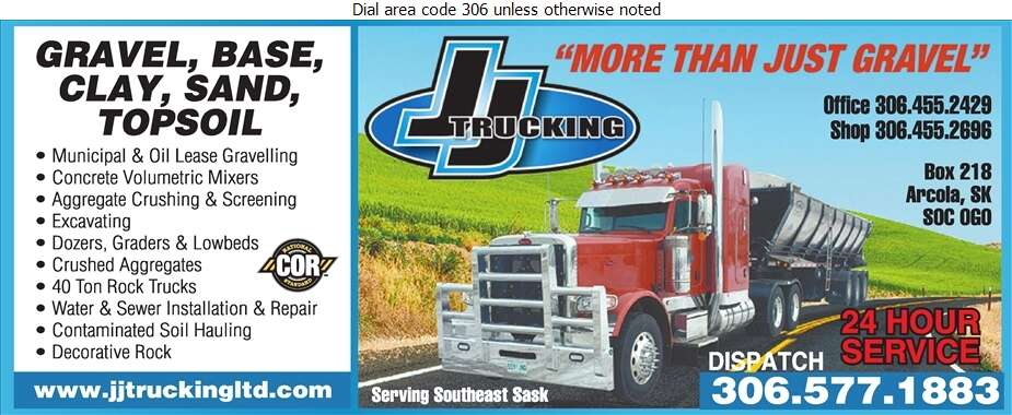 J J Trucking Ltd - Sand & Gravel Digital Ad