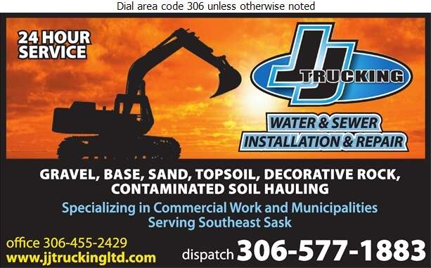 JJ Trucking Ltd - Excavating Contractors Digital Ad