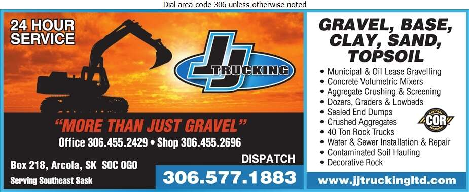 J J Trucking Ltd - Excavating Contractors Digital Ad