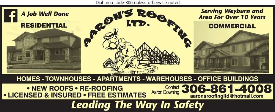 Aaron's Roofing Ltd - Roofing Contractors Digital Ad