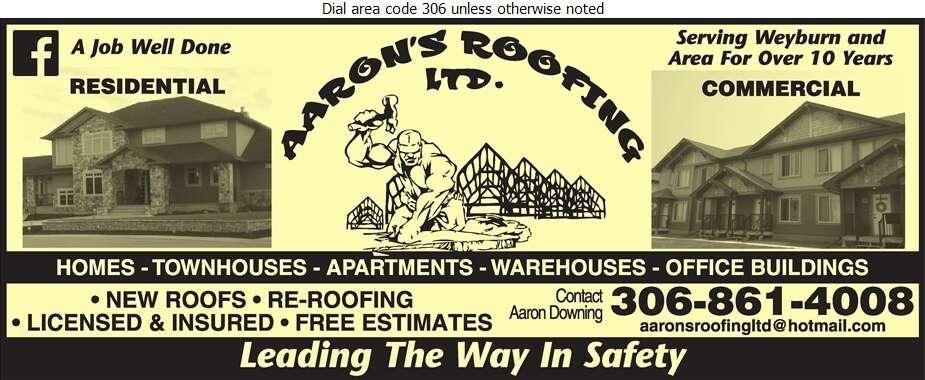 Aaron's Roofing Ltd - Roofing Contractors Digital Ad