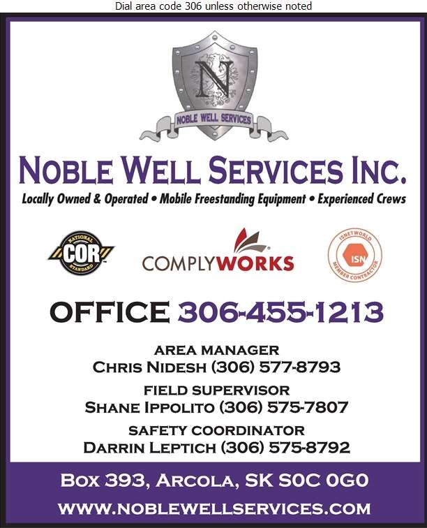 Noble Well Services (Chris Nidesh Area Supervisor) - Oil & Gas Well Service Digital Ad