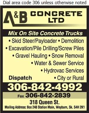 A & B Concrete Ltd - Concrete Ready Mixed Digital Ad
