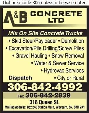 A & B Concrete Ltd - Concrete Ready Mixed Digital Ad