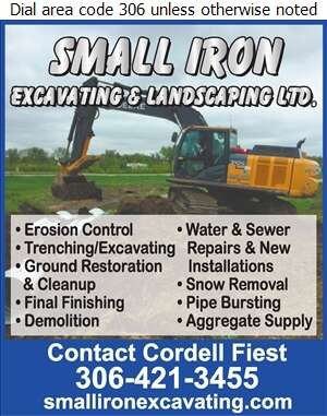 Small Iron Excavating & Landscaping Ltd - Excavating Contractors Digital Ad