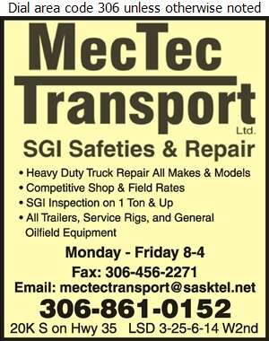 Mectec Transport Ltd - Truck Repairing & Service Digital Ad