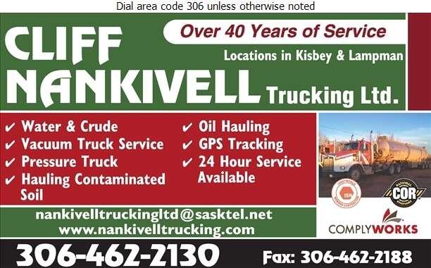Nankivell Cliff & Trucking Ltd - Trucking Digital Ad