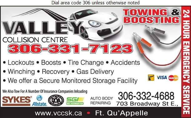 Valley Collision Centre - Towing & Boosting Service Digital Ad