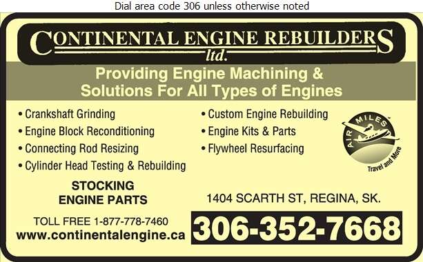 Continental Engine Rebuilders Ltd (1404 Scarth St Regina) - Machine Shops Auto Digital Ad
