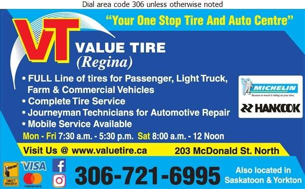 Value Tire (Regina) Ltd - Tire Dealers Retail Digital Ad