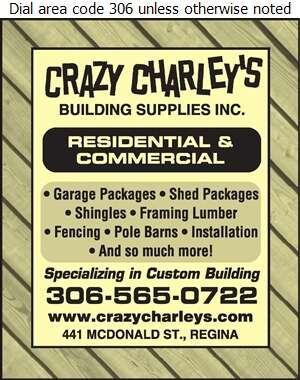 Crazy Charley's Building Supplies Inc - Builders Supplies Retail Digital Ad