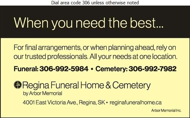 Regina Funeral Home & Cemetery (Cemetery) - Funeral Homes & Planning Digital Ad