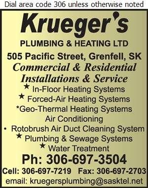 Krueger's Plumbing & Heating - Plumbing Contractors Digital Ad