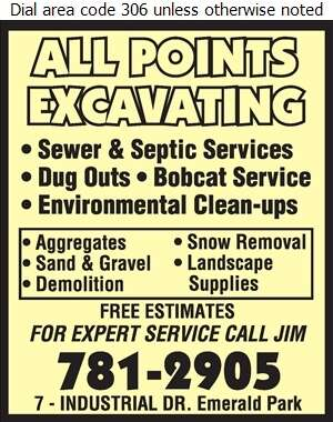 All Points Excavating - Excavating Contractors Digital Ad