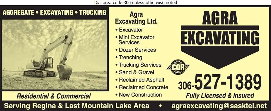 Agra Excavating Ltd - Excavating Contractors Digital Ad