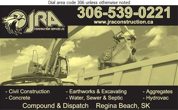 JRA Construction Services Ltd - Excavating Contractors Digital Ad