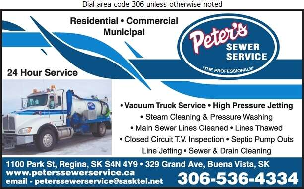 Peter's Sewer Service - Septic Tanks Sales & Service Digital Ad