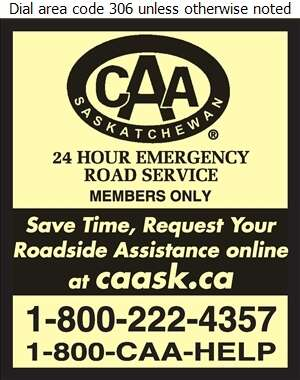 CAA Saskatchewan Towing (24 Hour Roadside Assistance) - Towing & Boosting Service Digital Ad