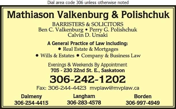 Mathiason Valkenburg & Polishchuk (B C Valkenburg Res) - Lawyers Digital Ad