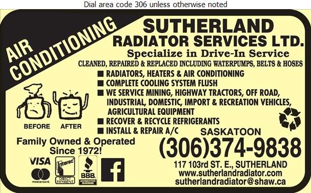 Sutherland Radiator Services Ltd - Radiators Auto & Industrial Digital Ad