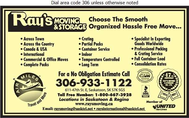 Ray's Moving & Storage Co Ltd (Ray's Logistic Solutions) - Movers Digital Ad