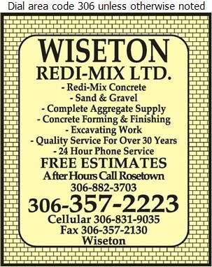 Wiseton Redi-Mix Ltd - Concrete Ready Mixed Digital Ad
