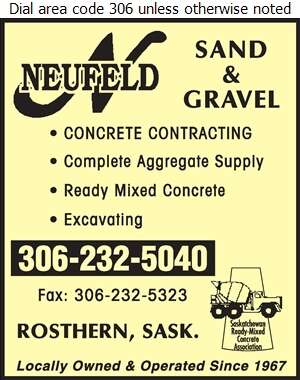 Al Neufeld Sand & Gravel - Concrete Contractors Digital Ad