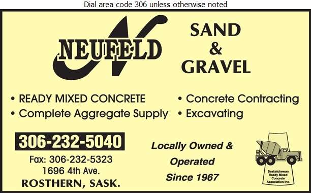 Al Neufeld Sand & Gravel - Concrete Ready Mixed Digital Ad