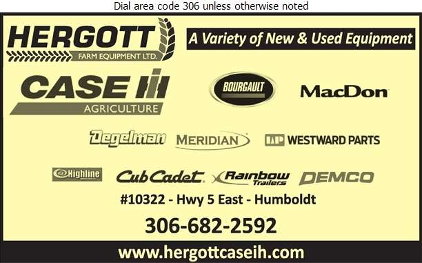 Hergott Farm Equipment Ltd (Len Hergott General Mgr) - Agricultural Implements Sales, Service & Parts Digital Ad