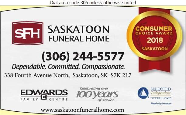 Saskatoon Funeral Home (Lance Bergen - Res) - Funeral Homes & Planning Digital Ad