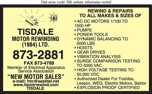 Tisdale Motor Rewinding (1984) Ltd - Electric Motors Sales & Service Digital Ad