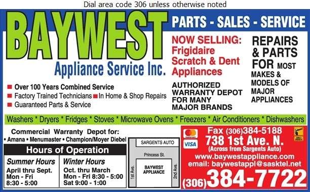 Baywest Appliance Service Inc - Appliances Major Sales, Service & Parts Digital Ad