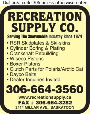 Recreation Supply Co - Snowmobiles Digital Ad