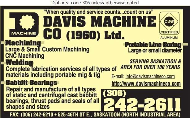 Davis Machine Co (Jim Rhode Res) - Machine Shops Digital Ad